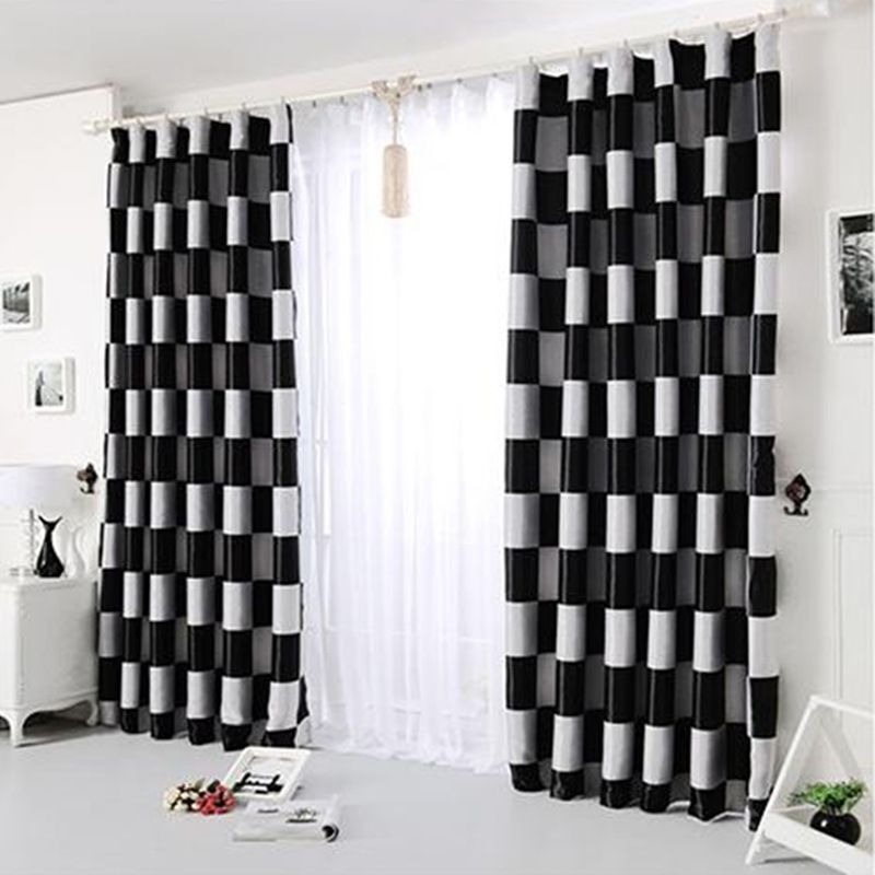Marvelous 2017New European Simple Gray Black Coffee Plaid Blackout Windows Curtains  For Living Room Bedroom Curtains Drapes