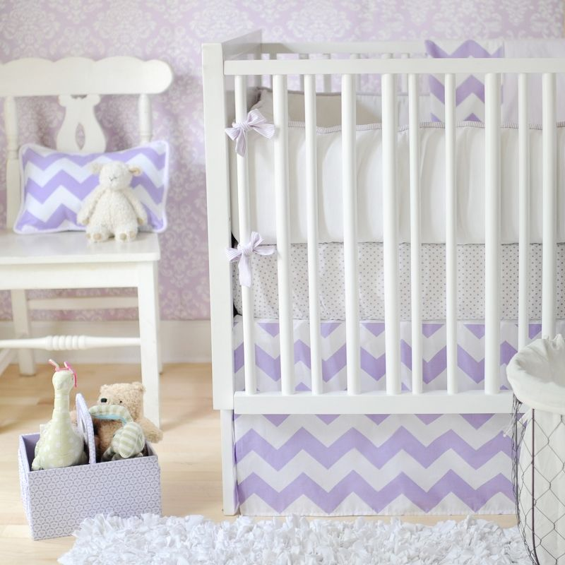 Zig Zag Baby Bedding In Lavender Inspired By The Newly Por Chevron Pattern Our Crib Will Give Your Nursery A Modern