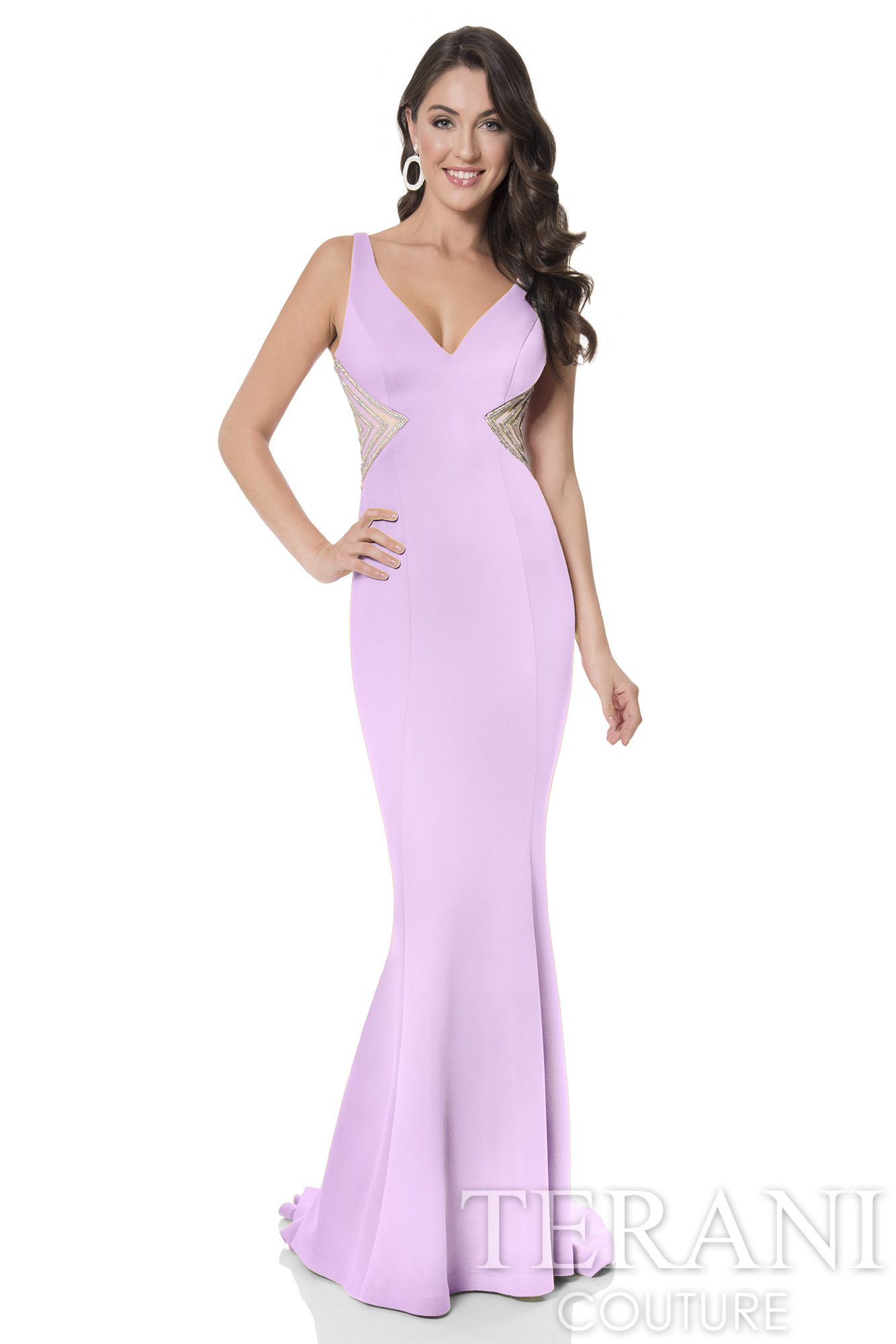 Fitted neoprene trumpet gown with semi-sweetheart neckline, finished ...