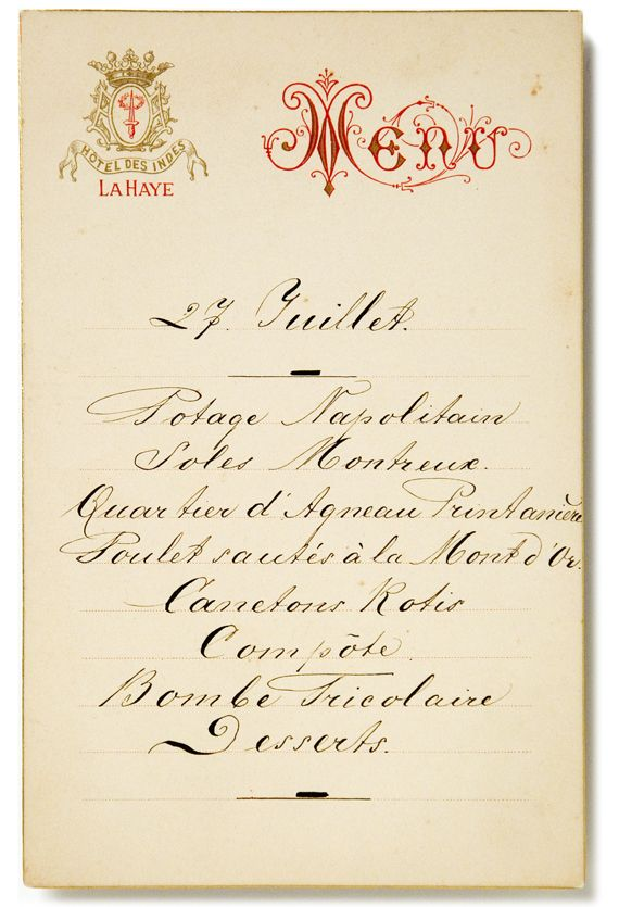 Hotel des Indes, the Hague, Netherlands, menu 27 JULY, late 1800s - french menu