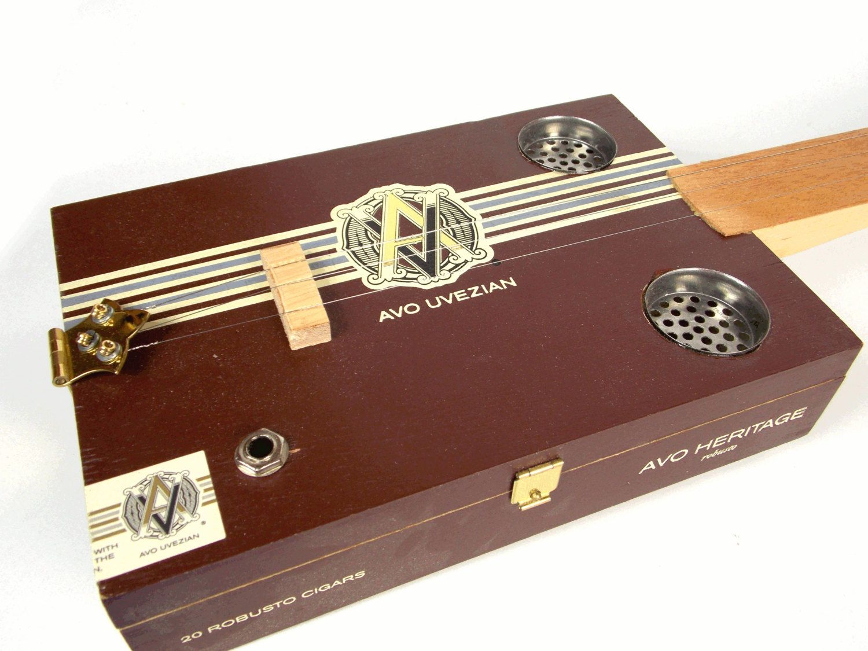 Acousitc / Electric Three String Cigar box Guitar
