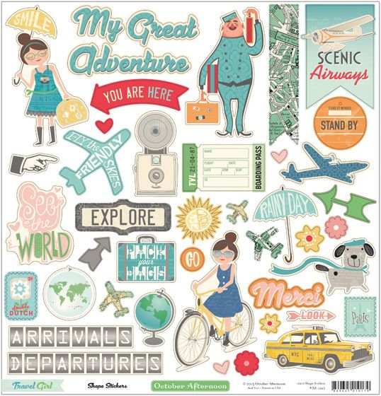October Afternoon Travel Girl 12x12 Shape Stickers Travel Journals