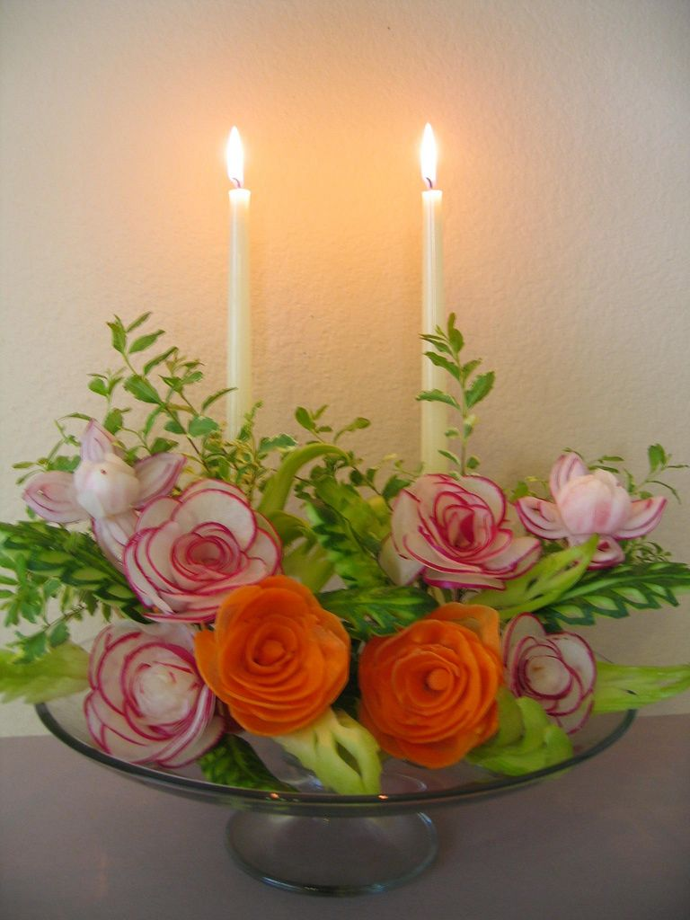 Candlelight roses carving food art and food