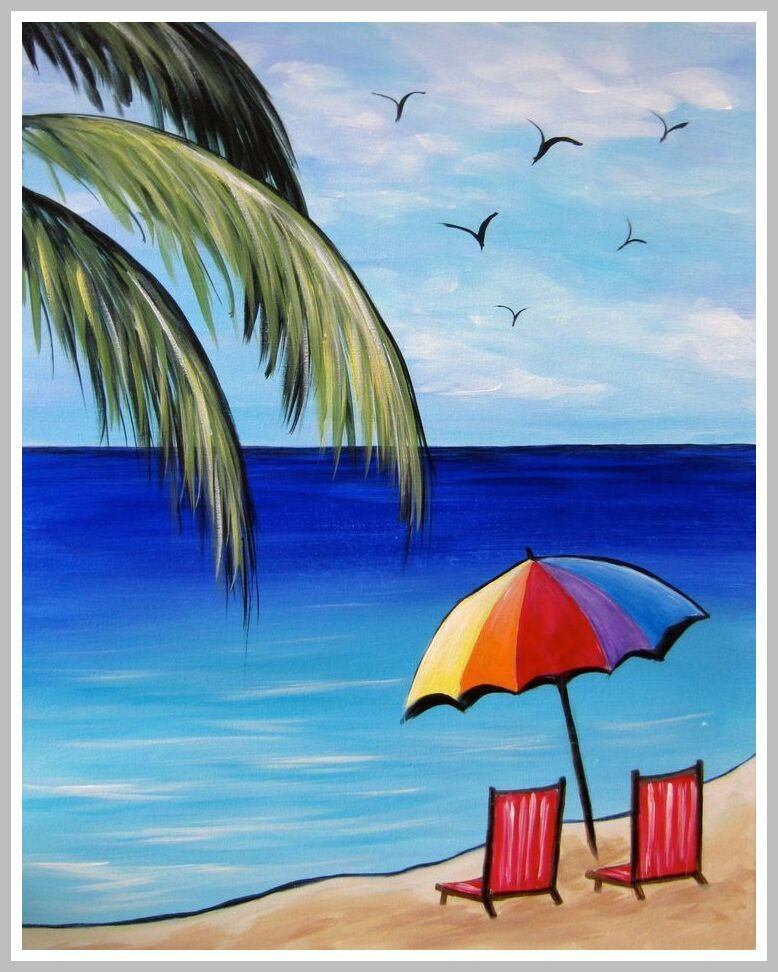 49 Reference Of Beach Chair Drawing Simple In 2020 Beach Art Painting Art Painting Easy Canvas Painting