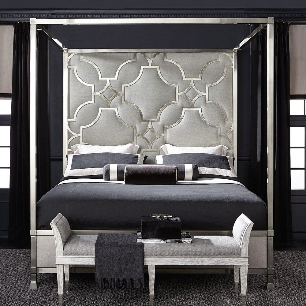 Domaine Blanc Stainless Steel & Upholstered Canopy Bed