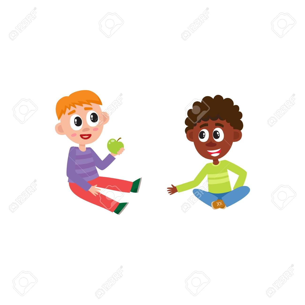 Vector Flat African And Caucasian Boys Kids Sitting At Floor Chating With Each Other Eating Apple Isolated I Pattern Drawing Interior Design Diy Illustration
