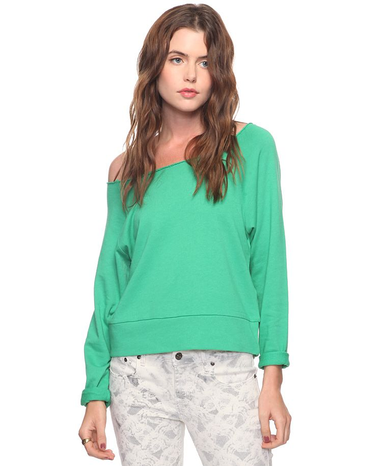 Forever 21 distressed athletic pullover, green - $14.990