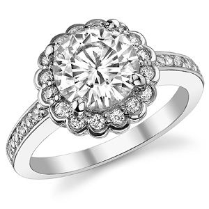 Round Forever One Moissanite Flower Shaped Halo Engagement Ring