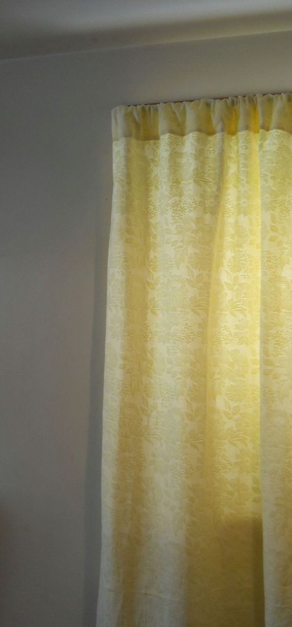 Pale Yellow Drapes Vintage 50s Mid Century Cheery By TrashureTrove, $60.00