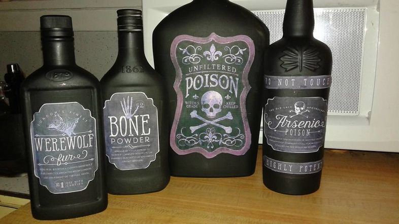 Poison Bottles Liquor Bottle Crafts Bottle Painted Wine Bottles