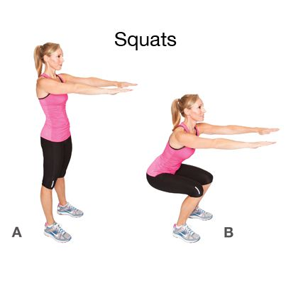 Squats. How to do it: Stand with your feet shoulder width apart ...