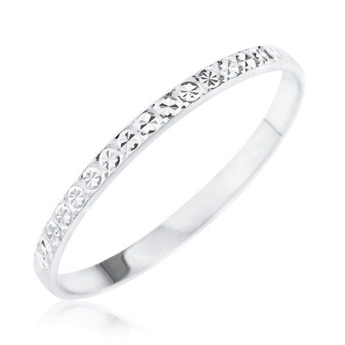 Popular Kareco ct White Gold mm Light Flat Diamond Cut Wedding Ring