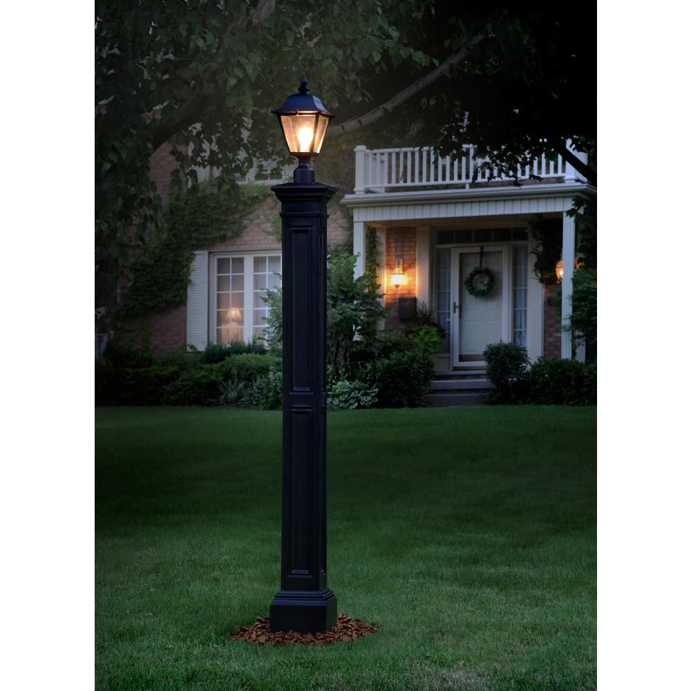 Mayne Liberty Black Lamp Post With Mount 5836 B The Home Depot Solar Lamp Post Outdoor Lamp Posts Outdoor Lamp