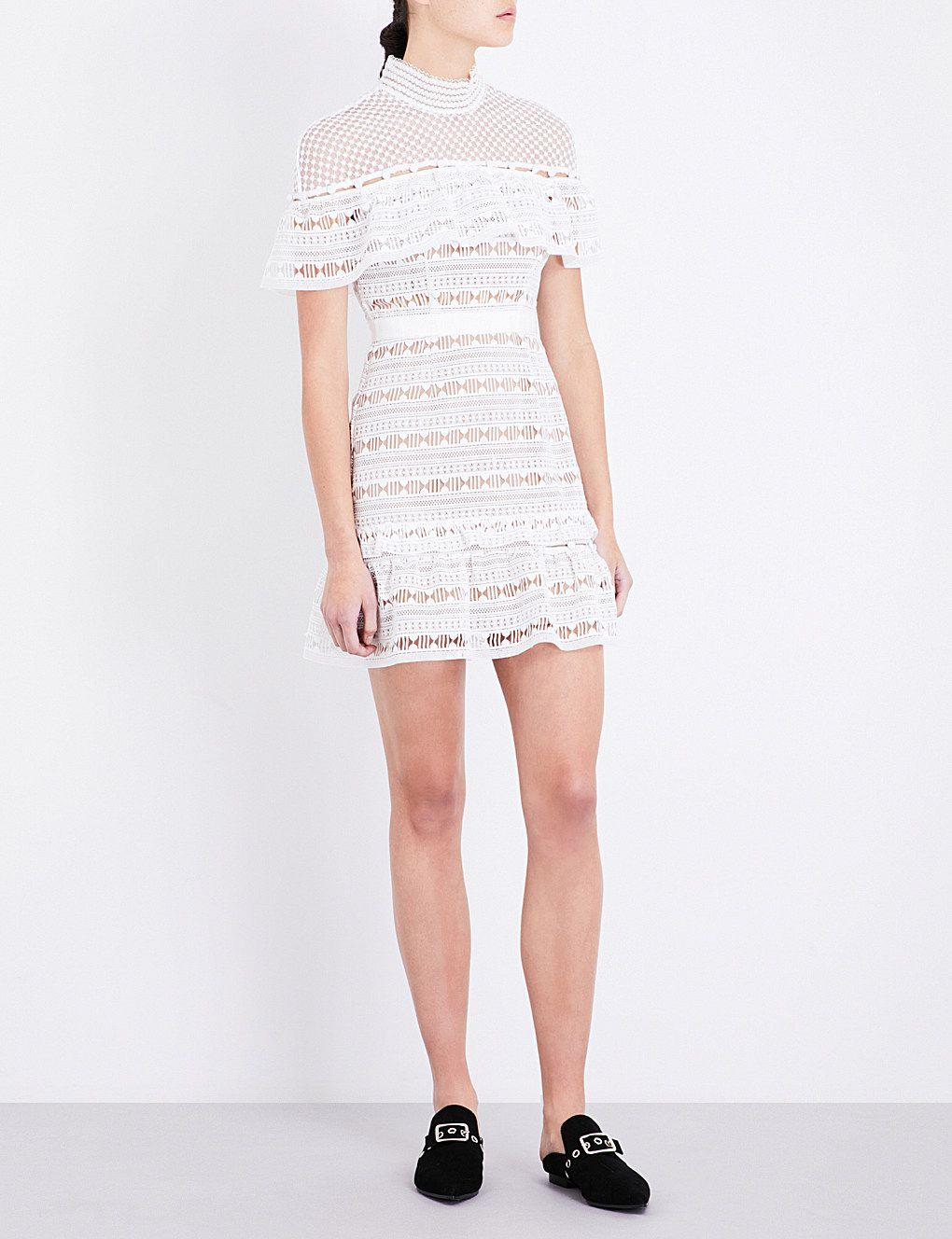 SELF-PORTRAIT York Frill guipure-lace mini dress