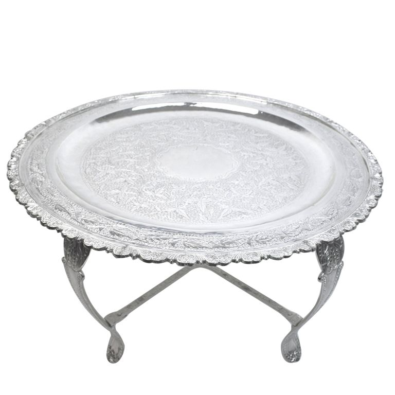 1stdibs Moroccan Silver Plated Brass Coffee Tea Table Explore