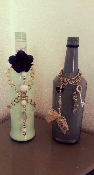Creatief met lege drank flessen binnenkant verven en versieren flessen pinterest drank - Versieren van een muur in ...