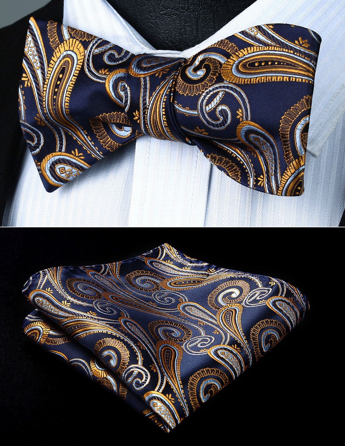 USA Blue Gray Paisley Self Bow Tie Classic Mens Silk Necktie Bowtie Set Party