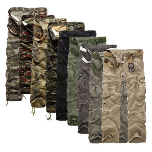 Homme Armée Combat Shorts Tactique Cargo Pantalon Décontracté Militaire Randonnée Camouflage
