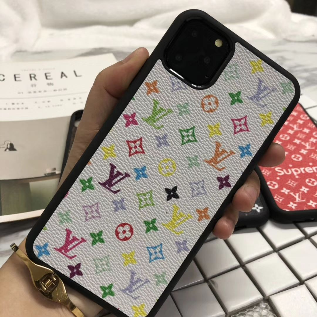 26 65 Classic Flower Lv Leather Back Case For Iphone 11 Colourful White Girly Phone Cases Pretty Iphone Cases Stylish Phone Case