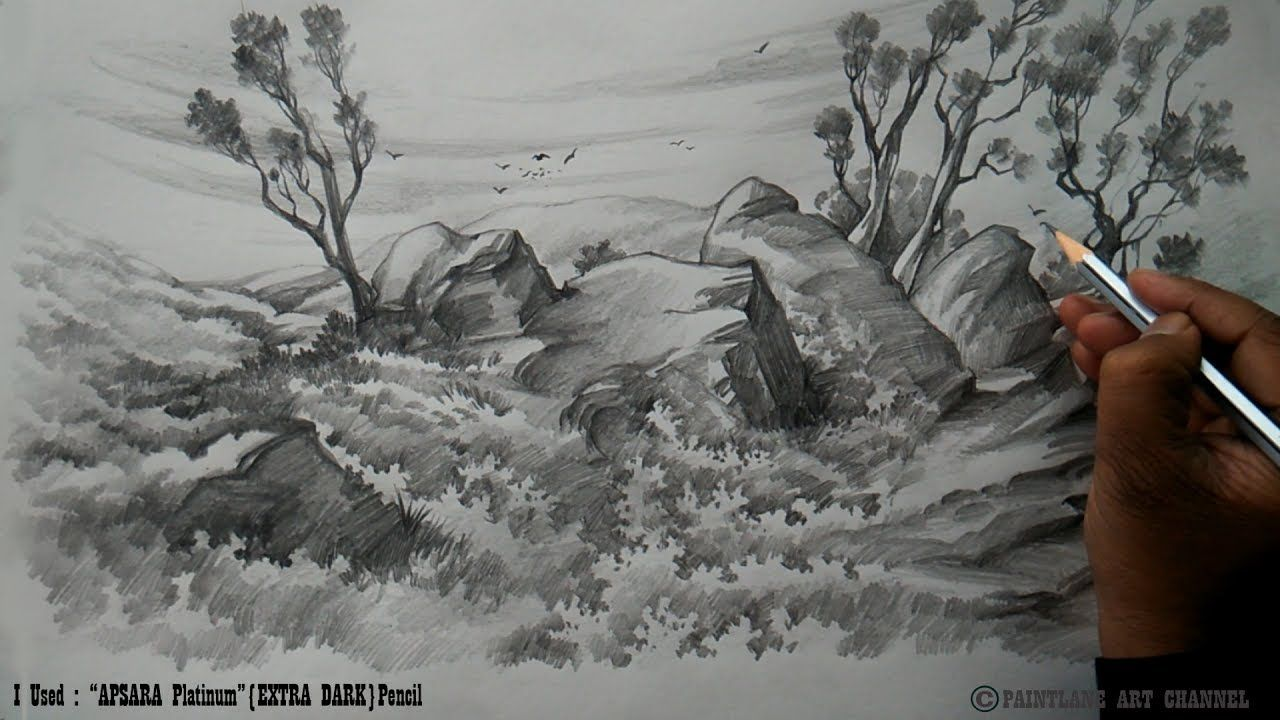 Drawing And Shading A Low Land Landscape With Pencil Pencil Sketch B Landscape Drawings Landscape Pencil Drawings Pencil Art