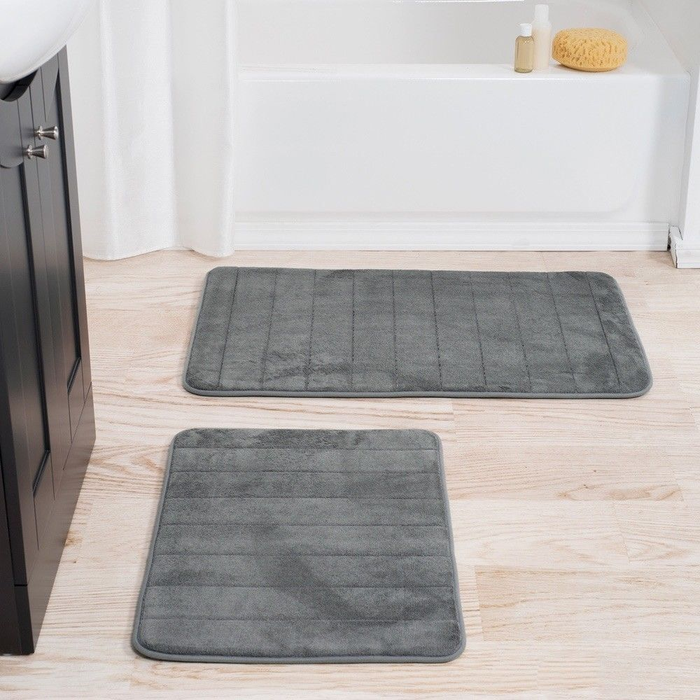 Memory Foam Cushion Plush Grey Bath Mat Decor With Non Skid