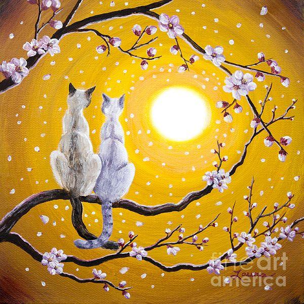 Siamese Cats Nestled In Golden Sakura Katzen Malereien Katzen Kunst Katzenzeichnung