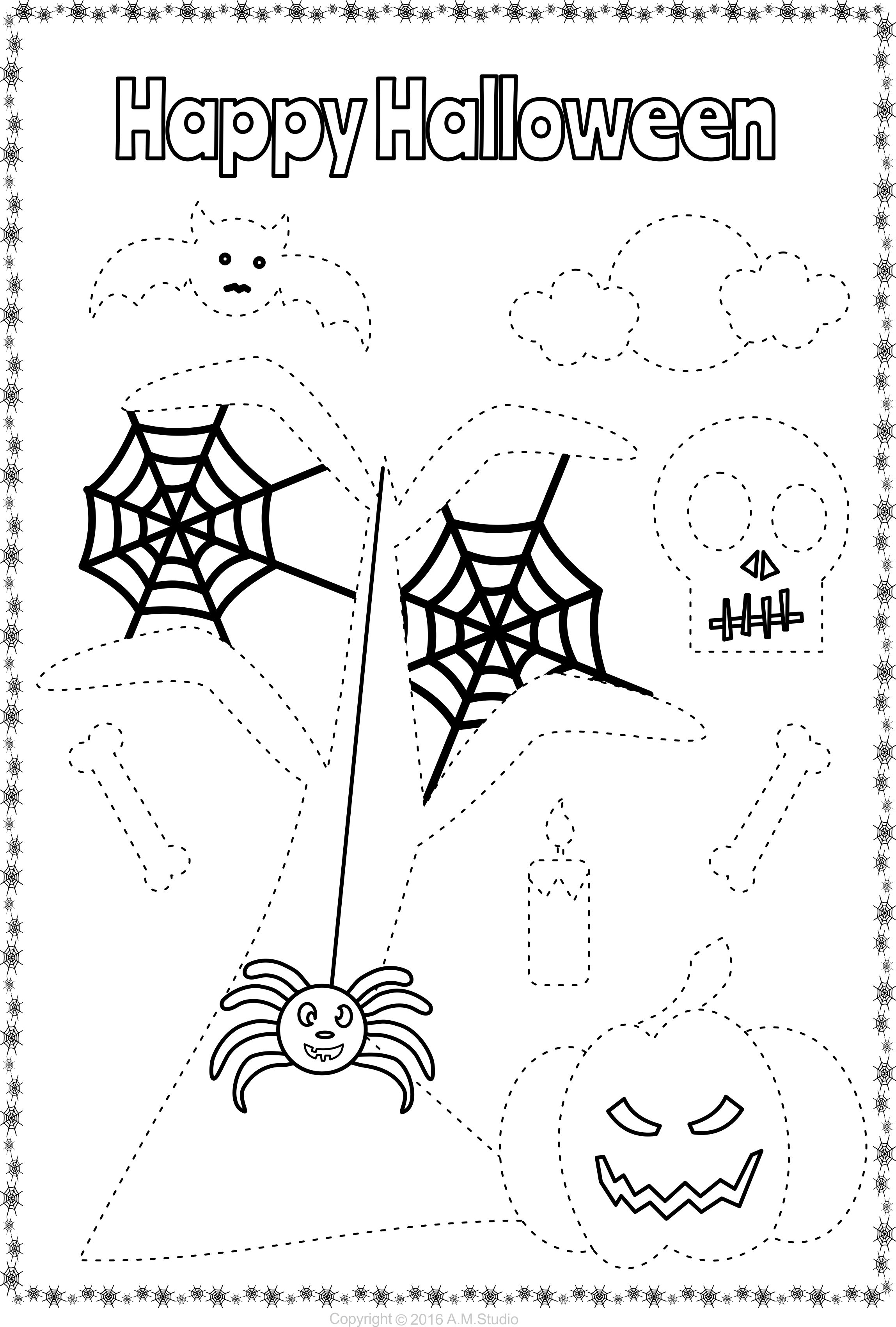 13 Halloween Themed Trace And Color Pages For Kids
