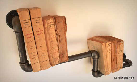 shelf library industrial vintage plumbing black iron pipe pipe shelf biblioth que. Black Bedroom Furniture Sets. Home Design Ideas