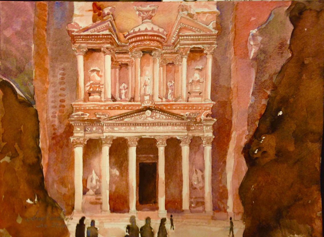 The Treasury Bldg Petra Jordan Watercolour Inspiration Artist