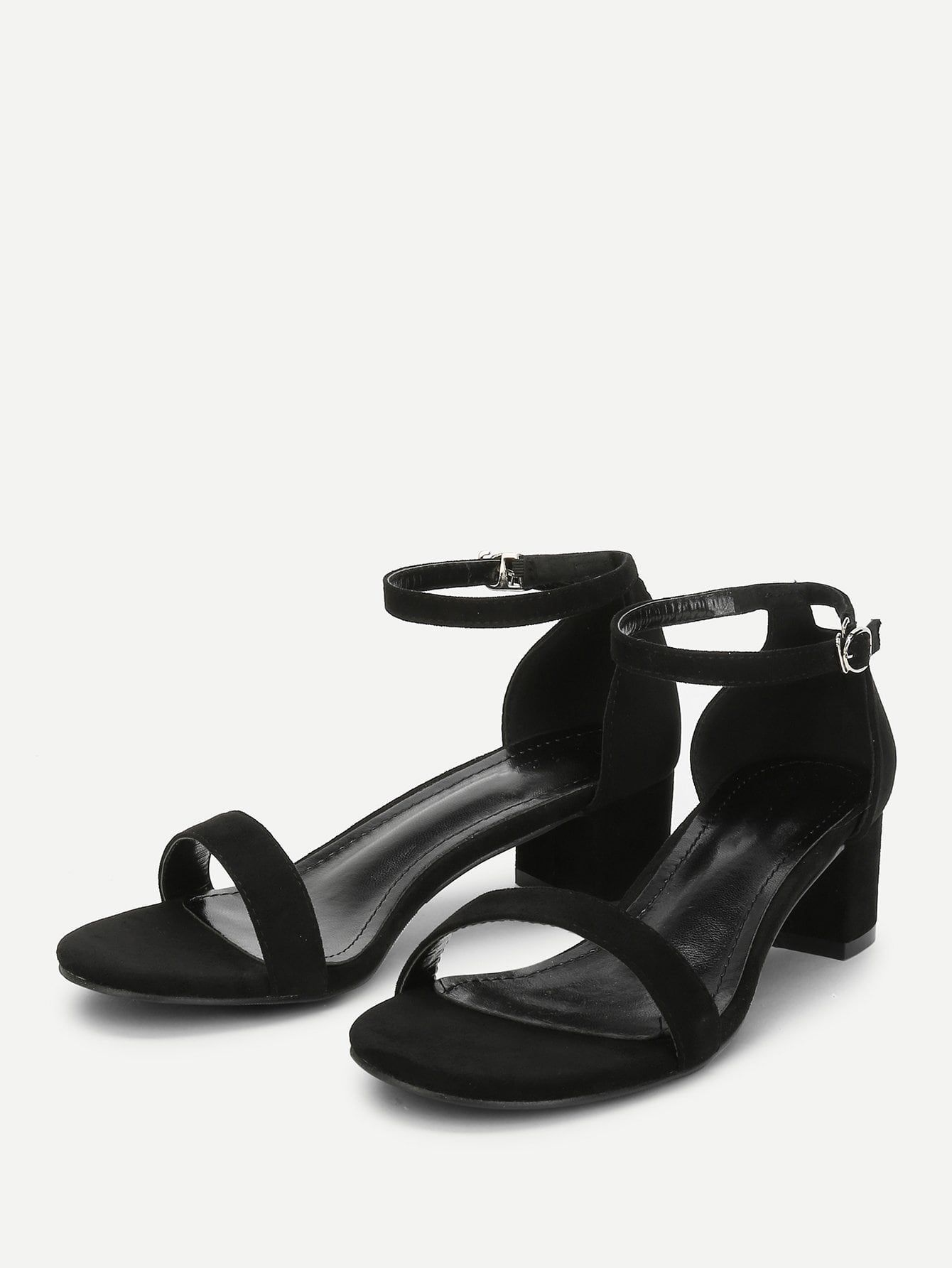 5d811ac7b6c7 Elegant Open Toe Ankle strap Black Mid Heel Chunky Ankle Strap Two Part  Block-Heel Sandals