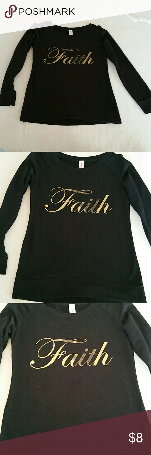 Faith Sweater Pull over sweater.  Black and gold lettering with fade look.  Soft cotton.  No rips tears or stains.  Back is solid black. Sweaters