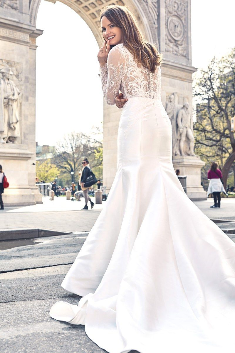 Chantilly lace and mikado silk fit and flair wedding gown with