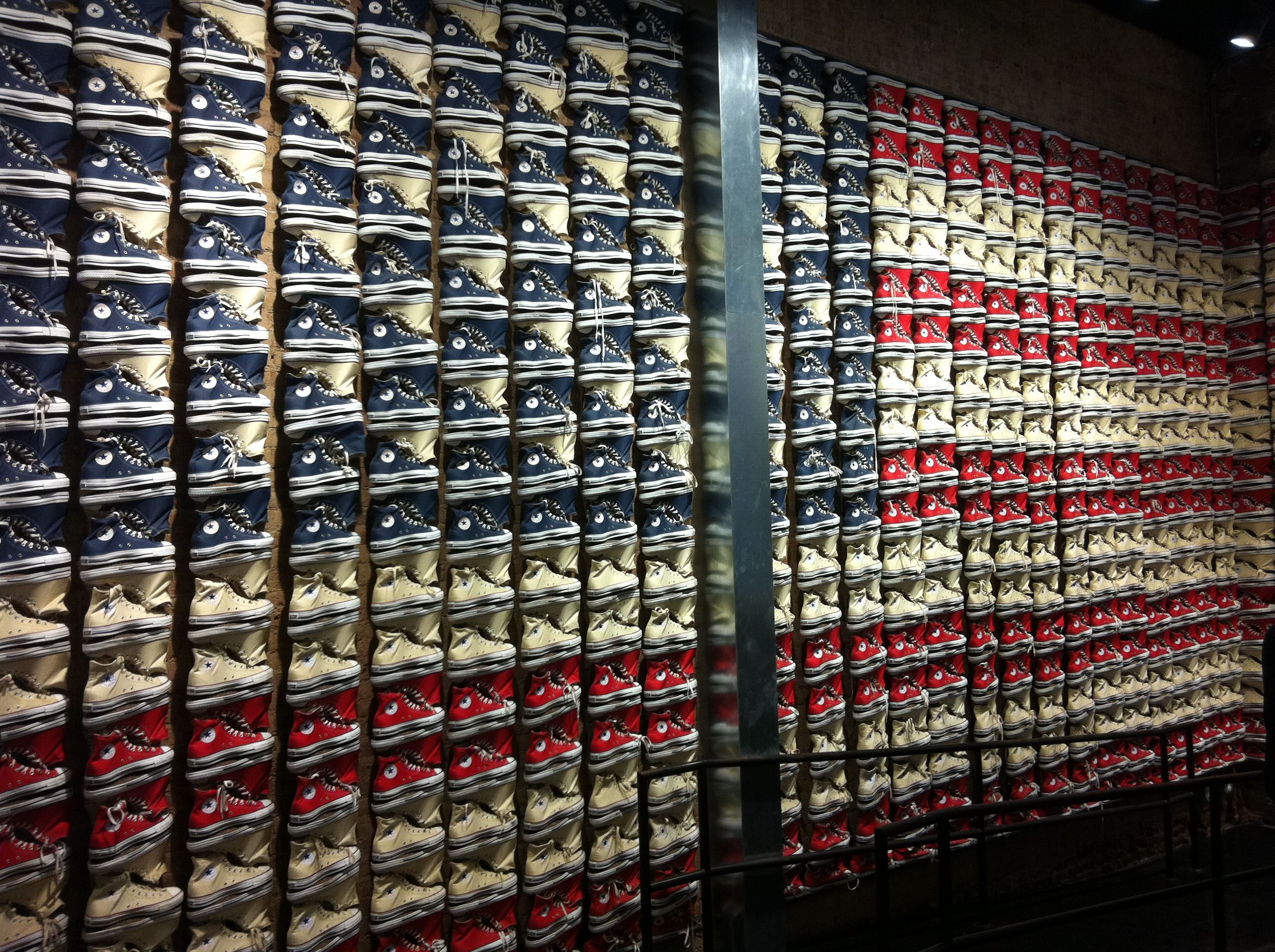 f2352e53fefe Converse store on Broadway. American flag made out of shoes ...
