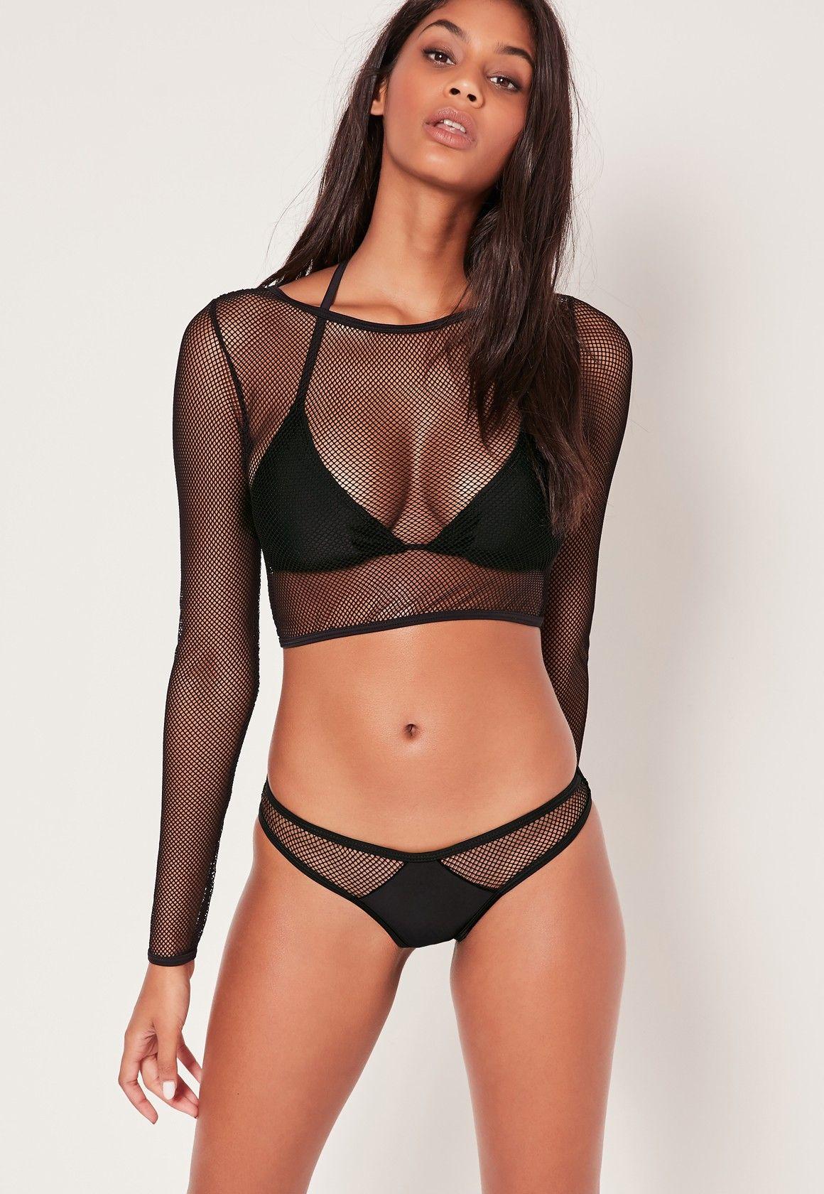 7a4cf03d855 Missguided - ABAD x Missguided Fishnet 3 Piece Bikini Set Black ...