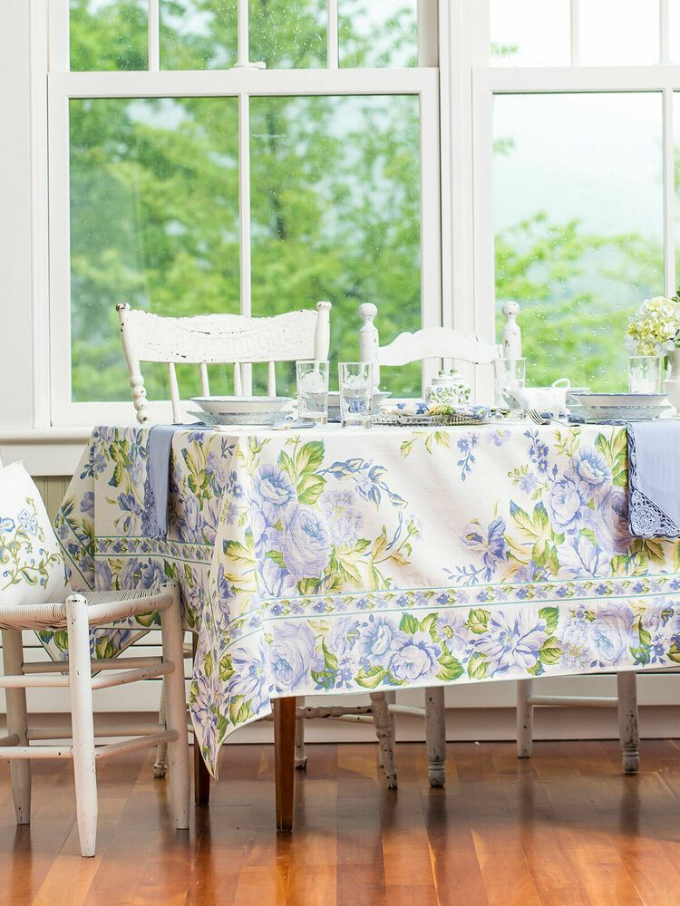 April Cornell Tablecloth Rainforest Orchid Collection 54x54 NWT 100/% Cotton Teal
