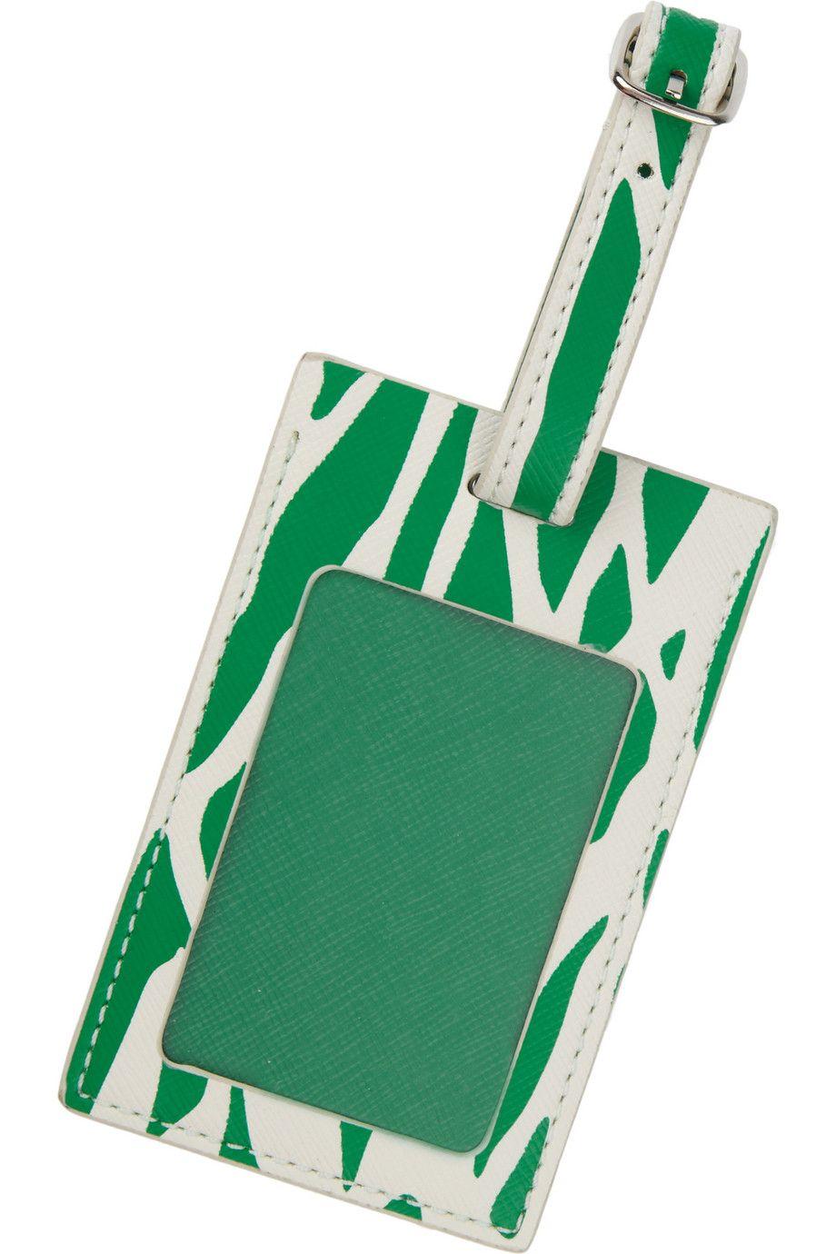 Diane von Furstenberg Printed leather luggage tag