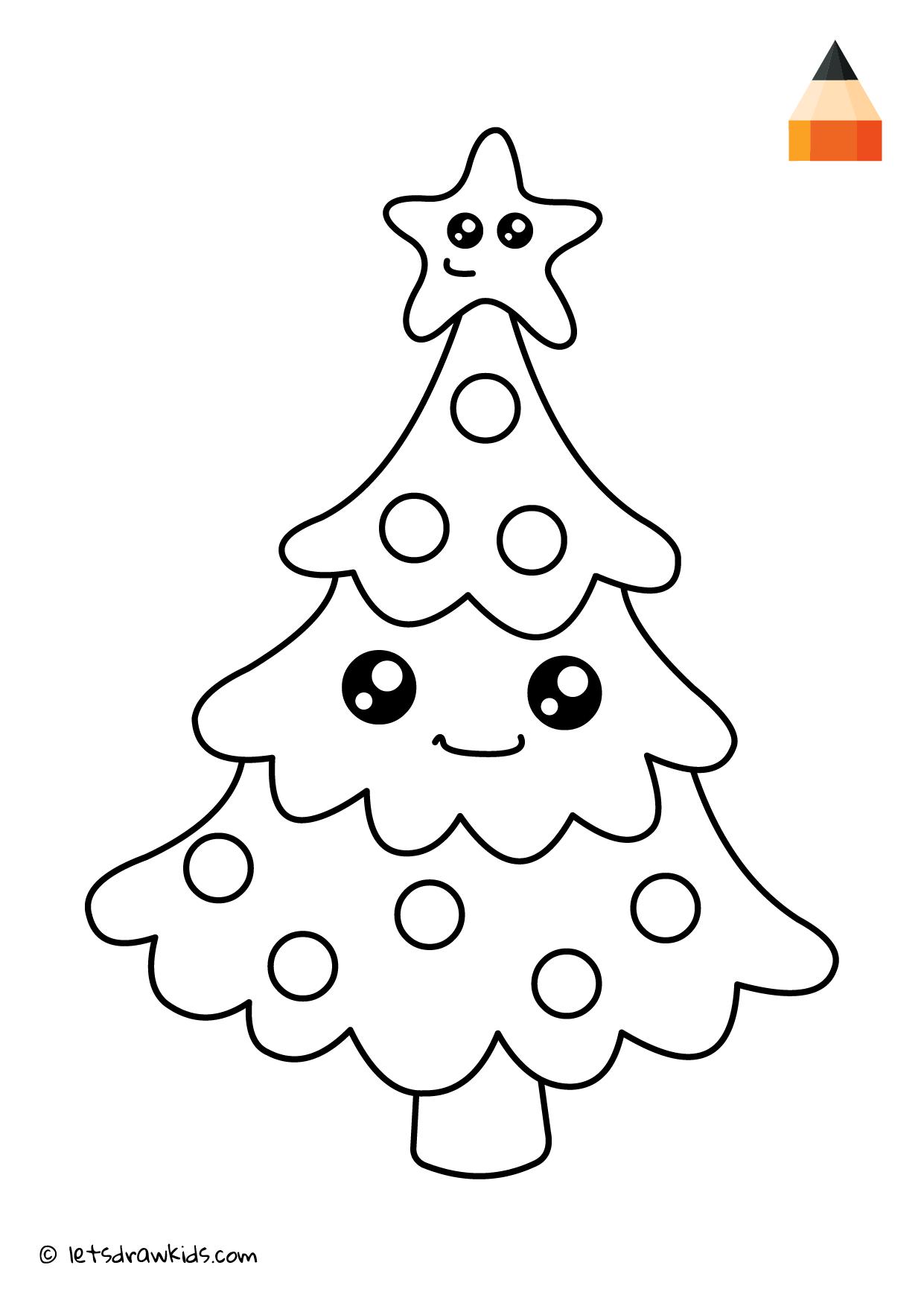 Coloring Page Christmas Tree Christmas Tree Drawing Drawings Christmas Trees For Kids