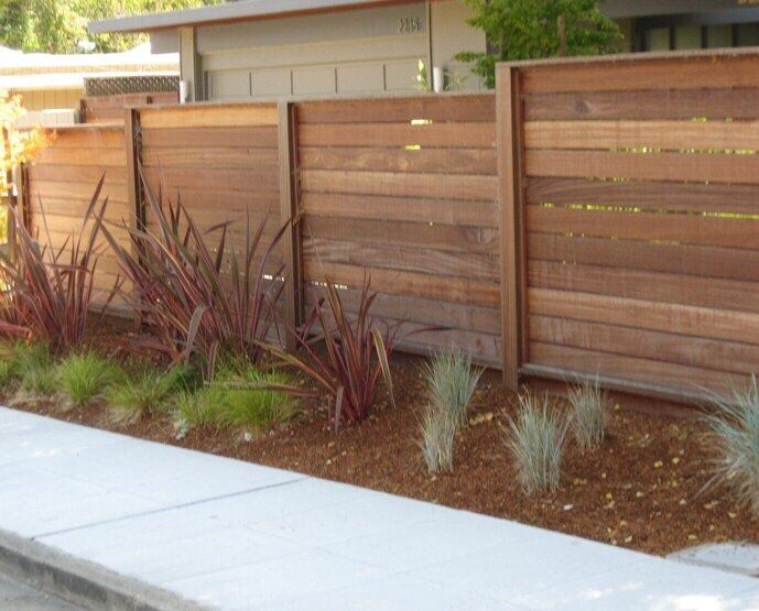 Side View Of The Fence Panels We Opted For The Redwood It S A Little Pricier But It Is Less Knots And Lasts Longer Yelp Redwood Fence Fence Fence Gate