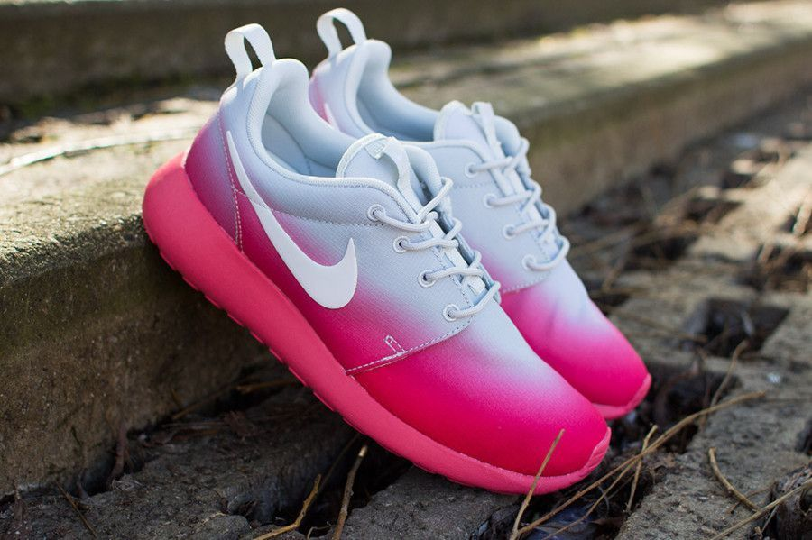 Fashionable Nike Roshe Run Womens Gradient Pink Grey Hot Sell