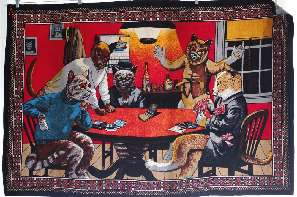 Ptc Vintage Cat S Playing Poker Tapestry Wall Hanging Unframed Art 57 X38 Cat Playing Vintage Cat Feline