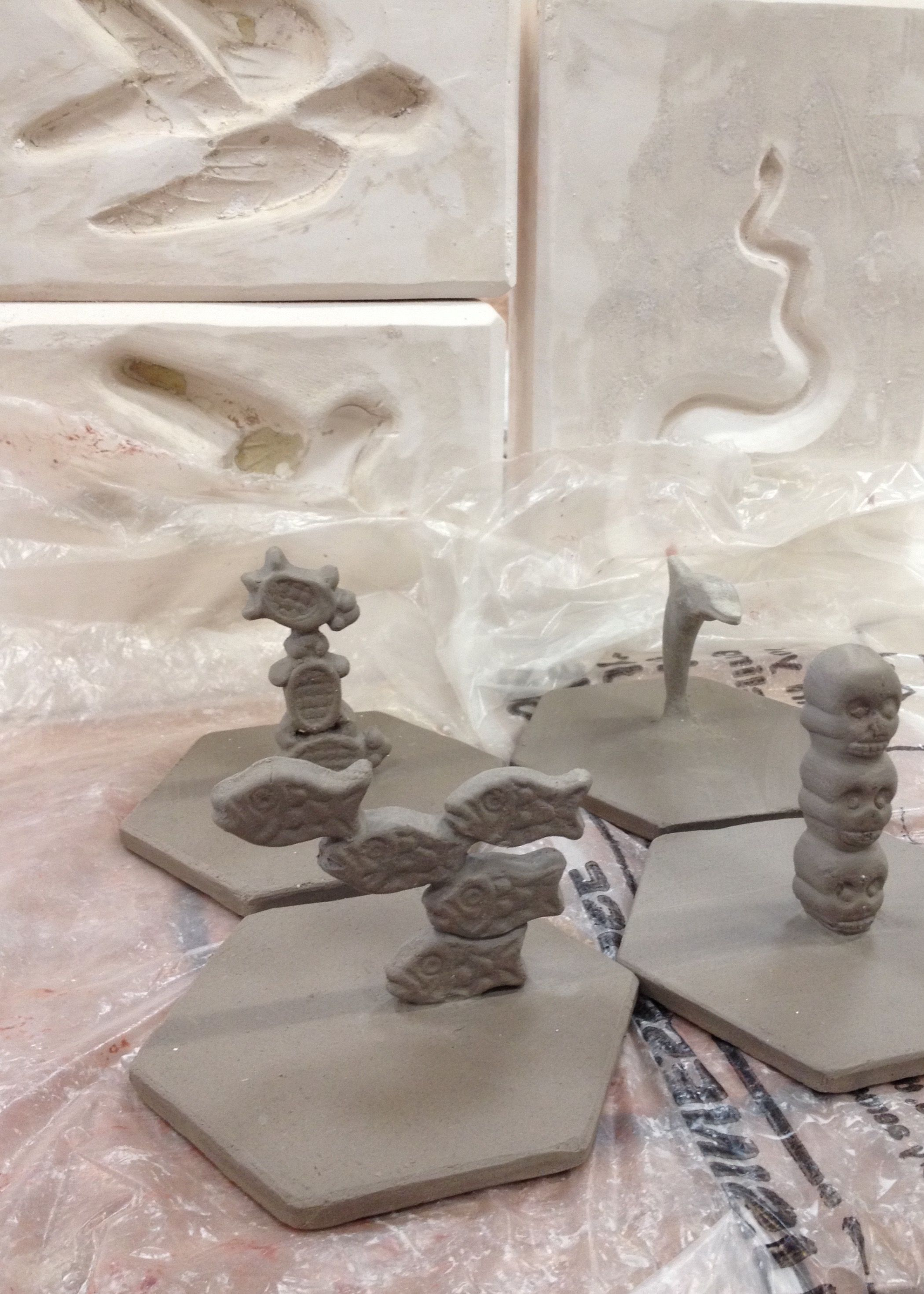B.C. WEST COAST mini sculptures in progress and new swallow and snake moulds made by artist geordie groenhuysen