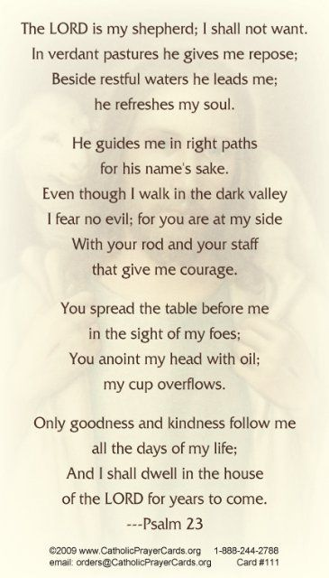 Good Shepherd Psalm 23 Prayer Card Psalms Prayer Cards Prayers