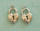 2 Silver Heart Lock Charms 2471