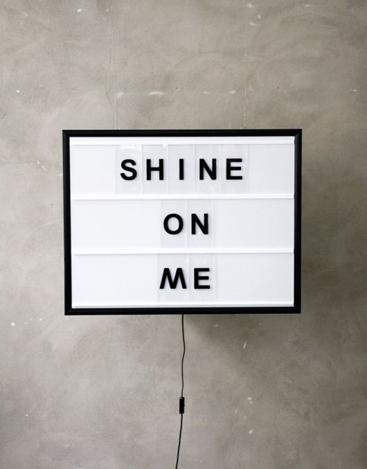 light box with changeable letters shine on me by stockholm based bxxlght