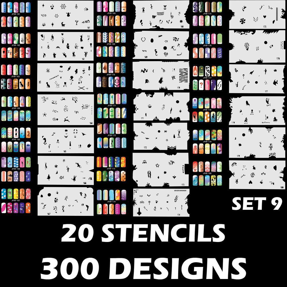 Details about airbrush nail art stencil designs set