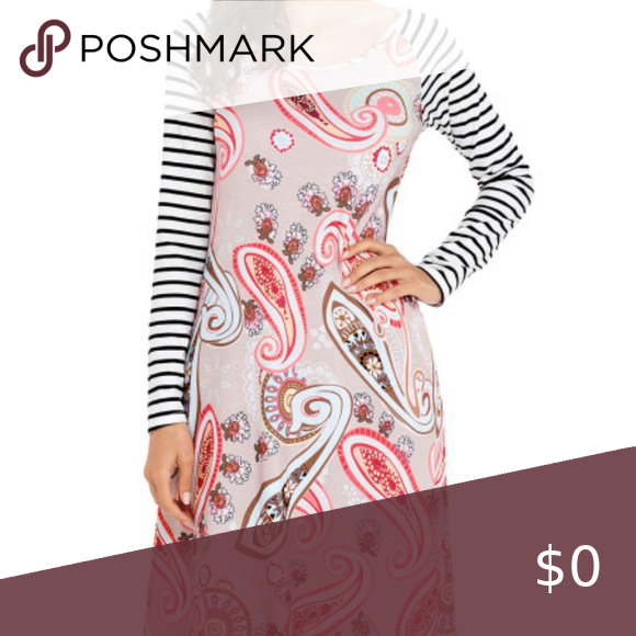 BROWN Paisley Print Cross-Pattern Summer Dress