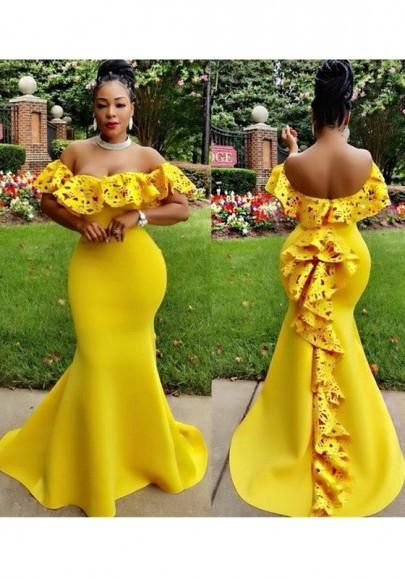 6ccd6652efb Yellow Ruffle Cut Out Bandeau Off Shoulder Open Back Mermaid Maxi Dress