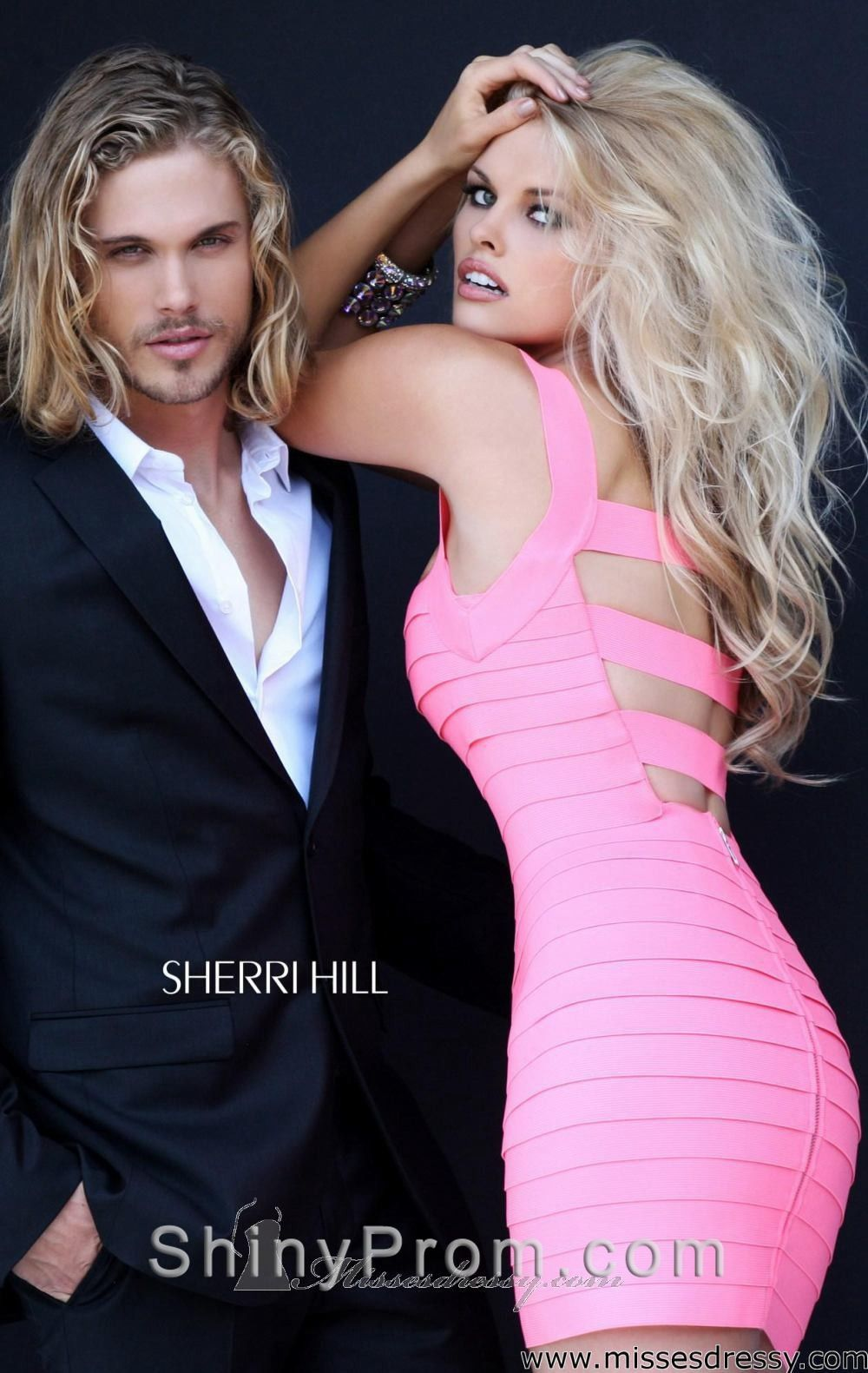 Sherri Hill 2220 pink (blush, fuchia) color back side. Backless sexy ...