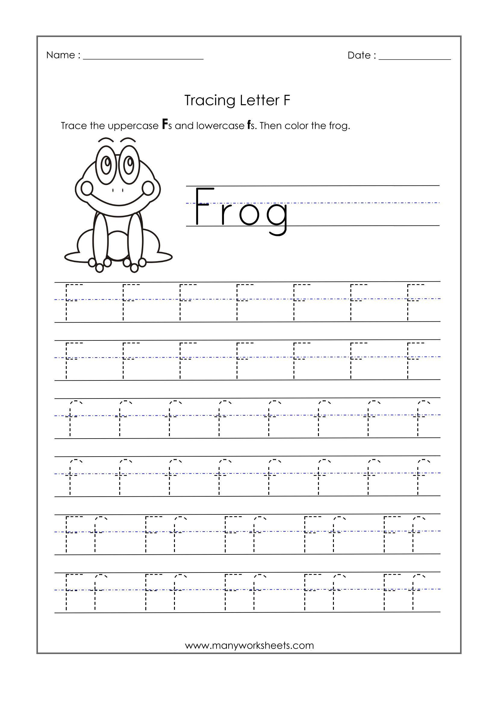 Abc Tracing Worksheets For Kindergarten Letter F