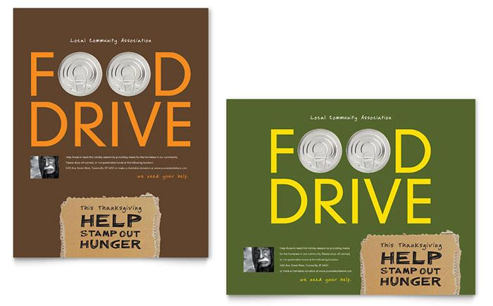 Holiday Food Drive Fundraiser Poster Template Design By